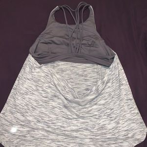 LULU LEMON WHITE AND GREY WORKOUT TANK TOP 25$ OBO